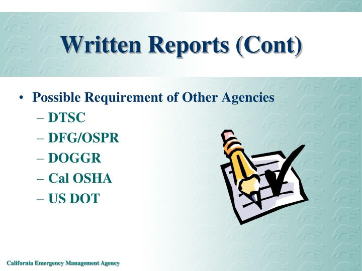 Written Reports (Cont)