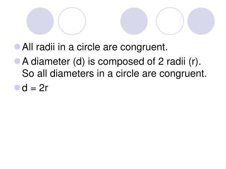 All radii in a circle are congruent.