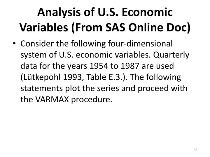 Analysis of U.S. Economic Variables (From SAS Online Doc)