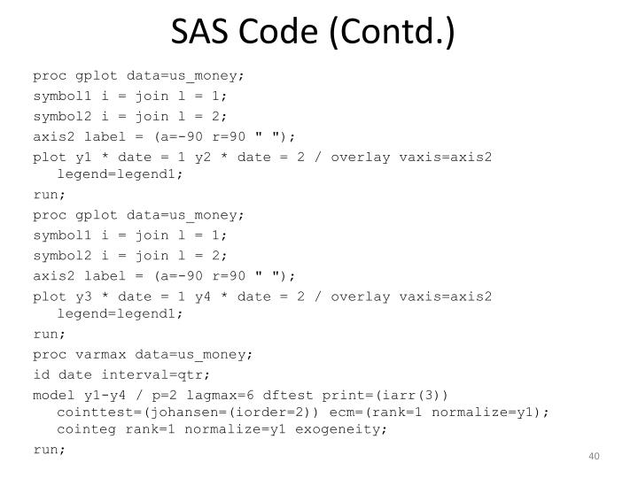 SAS Code (Contd.)
