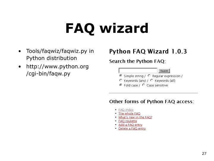 FAQ wizard