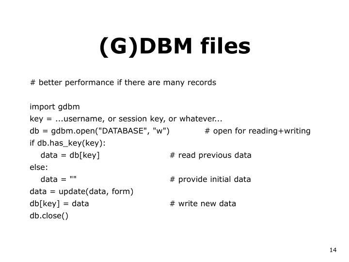 (G)DBM files
