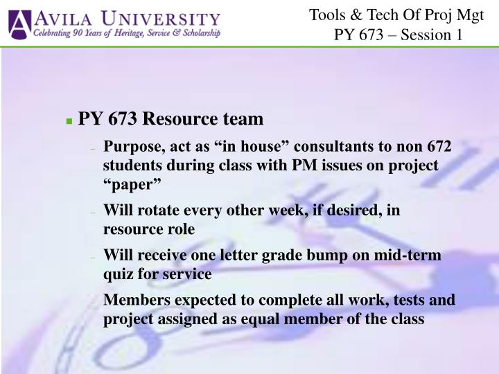 PY 673 Resource team