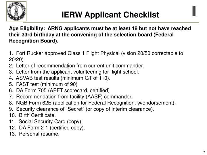 IERW Applicant Checklist