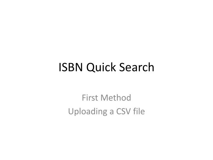 ISBN Quick Search