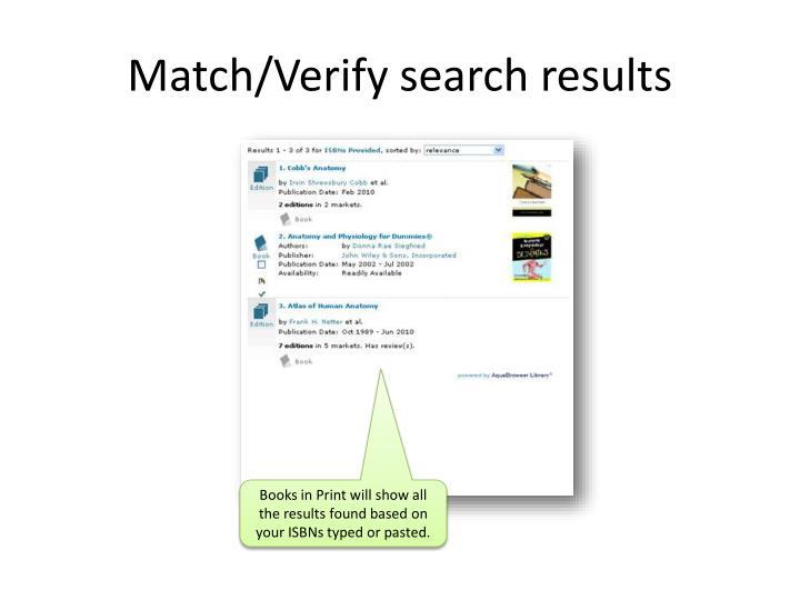 Match/Verify search results