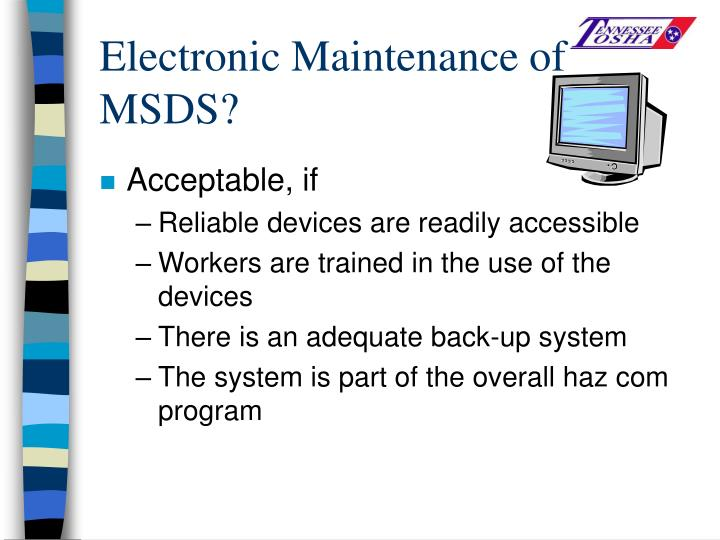 Electronic Maintenance of MSDS?