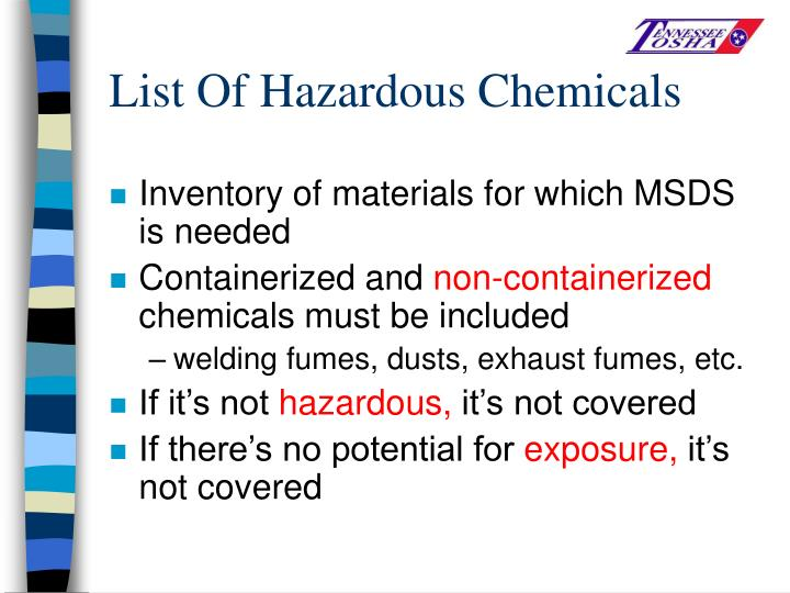 List Of Hazardous Chemicals
