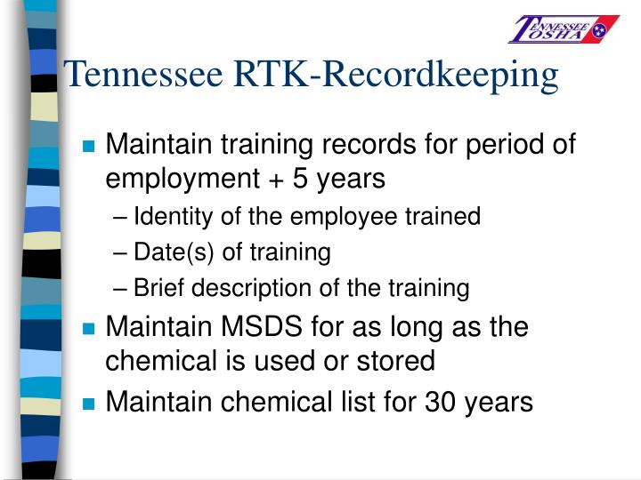 Tennessee RTK-Recordkeeping