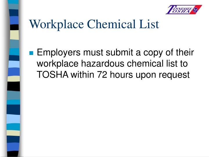 Workplace Chemical List