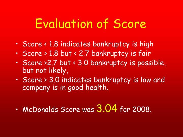 Evaluation of Score