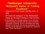 hamburger university mcdonald s center of training excellence