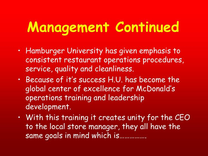 Management Continued