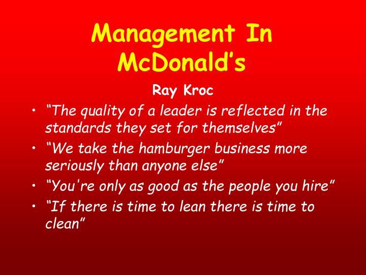 Management In McDonald's