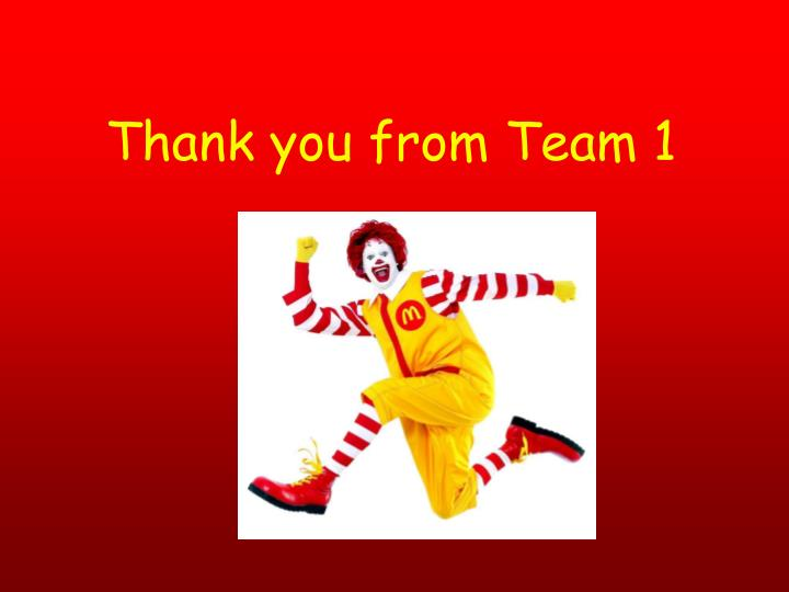 Thank you from Team 1