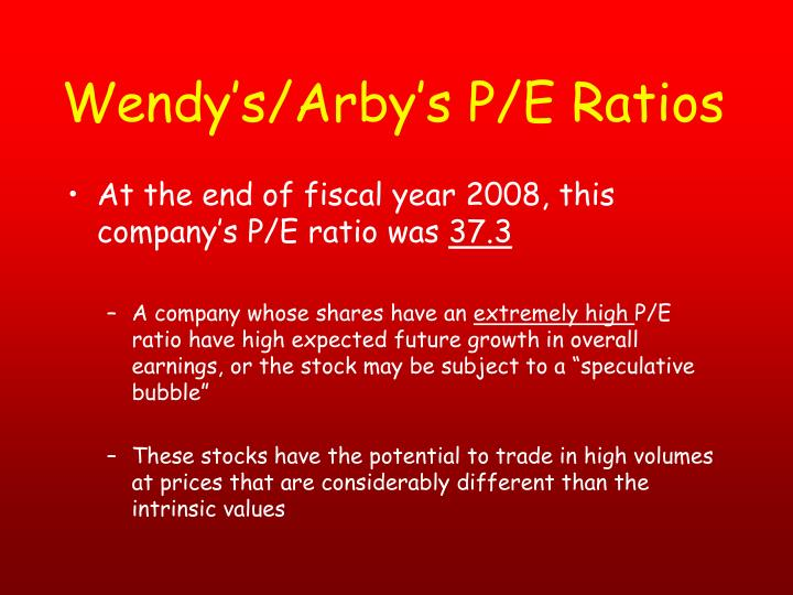 Wendy's/Arby's P/E Ratios