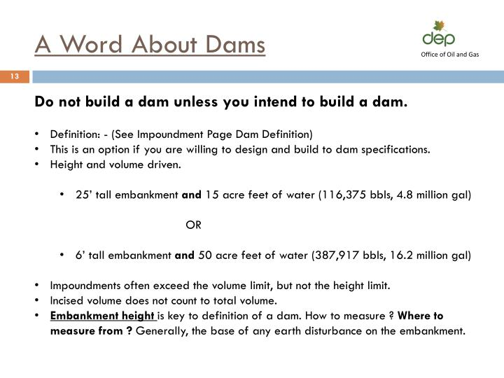 A Word About Dams