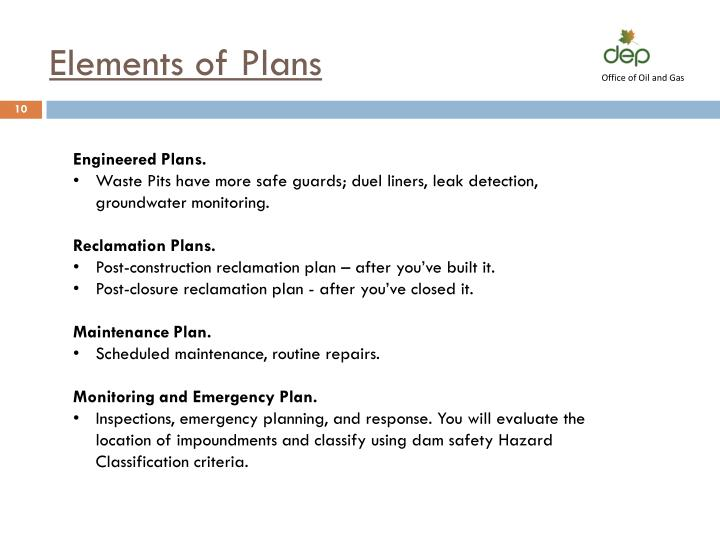 Elements of Plans