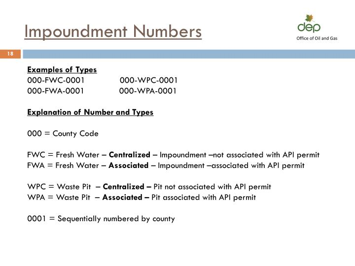 Impoundment Numbers