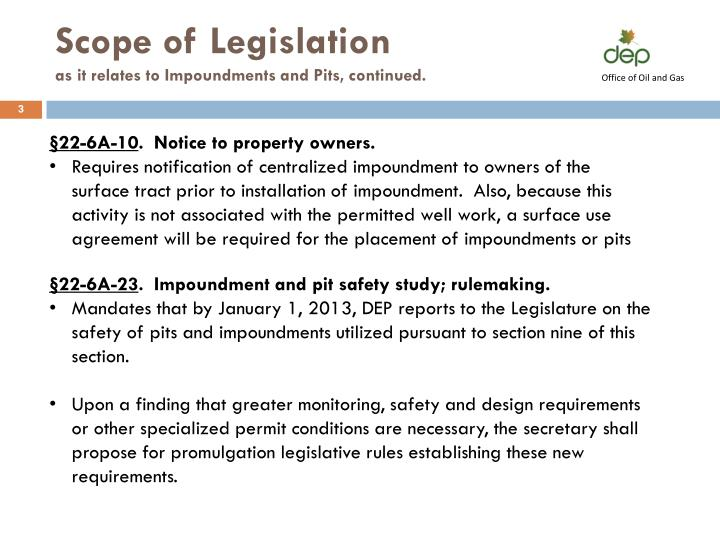 Scope of Legislation