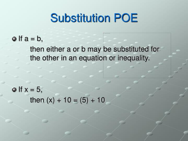Substitution POE