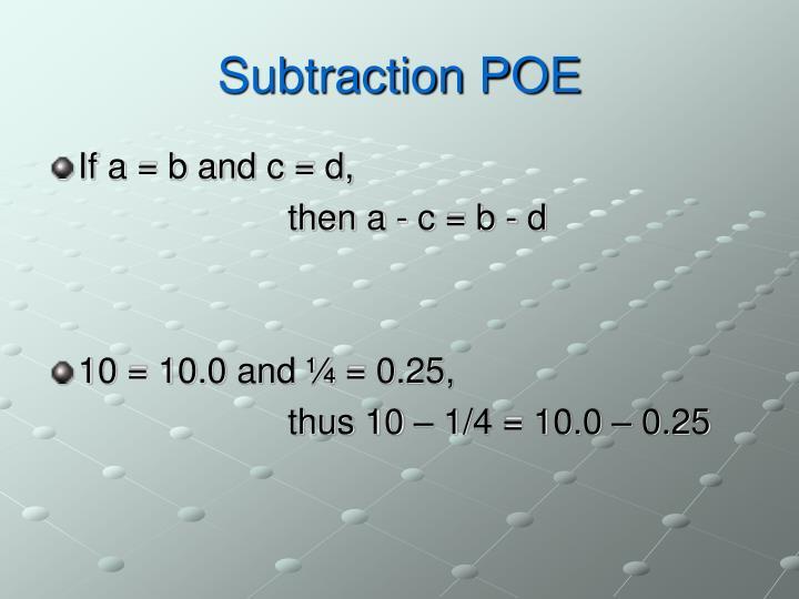 Subtraction POE