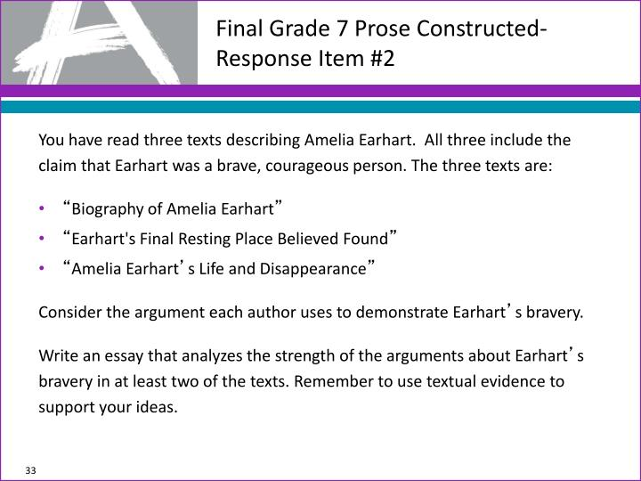 Final Grade 7 Prose Constructed-Response Item #2