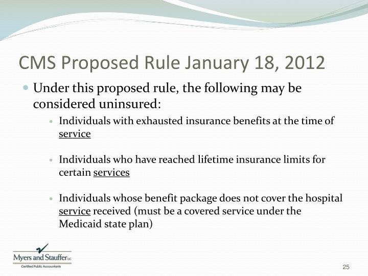 CMS Proposed Rule January 18, 2012