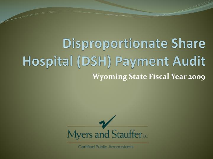 Disproportionate share hospital dsh payment audit