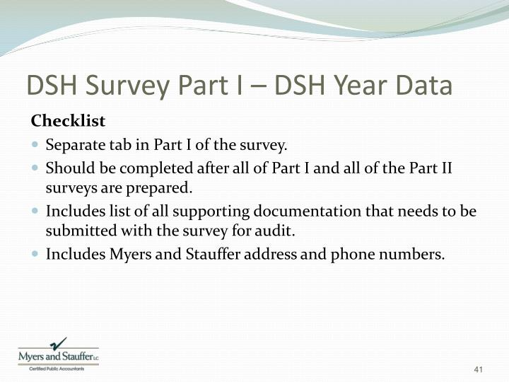 DSH Survey Part I – DSH Year Data