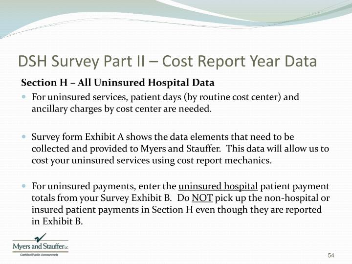 DSH Survey Part II – Cost Report Year Data
