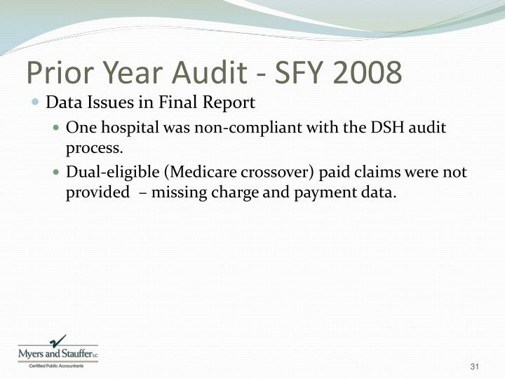 Prior Year Audit - SFY 2008