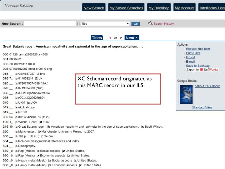 XC Schema record originated as this MARC record in our ILS