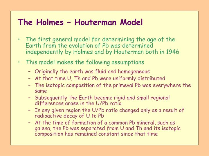 The Holmes – Houterman Model