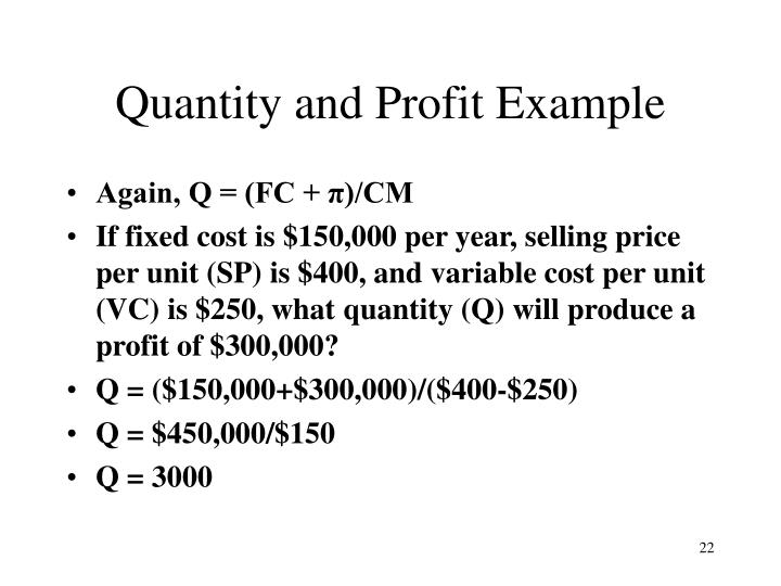 Quantity and Profit Example