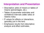 interpretation and presentation