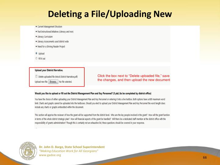 Deleting a File/Uploading New