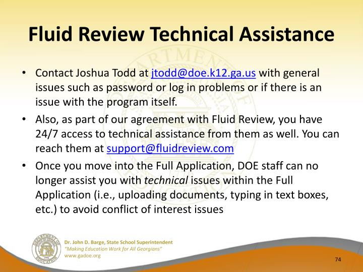 Fluid Review Technical Assistance