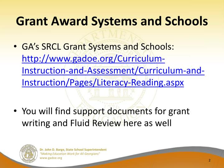 Grant award systems and schools