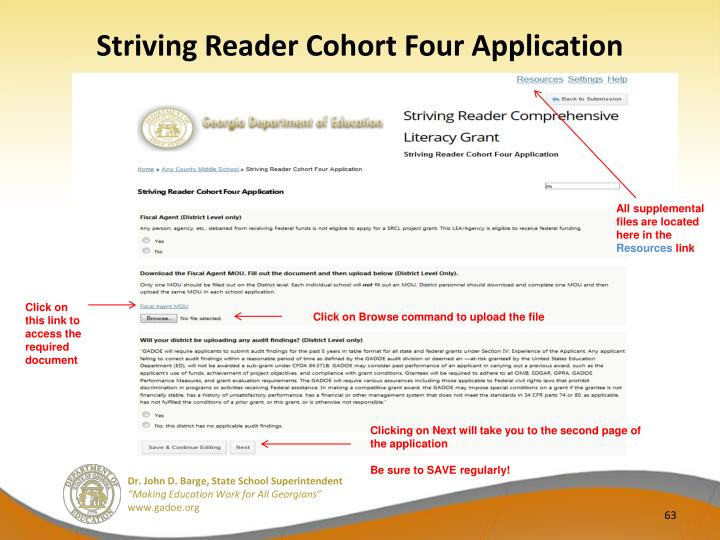 Striving Reader Cohort Four Application