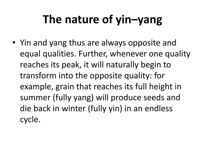 The nature of yin–yang