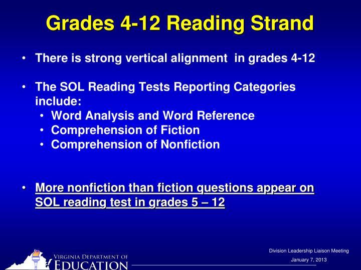 Grades 4-12 Reading Strand