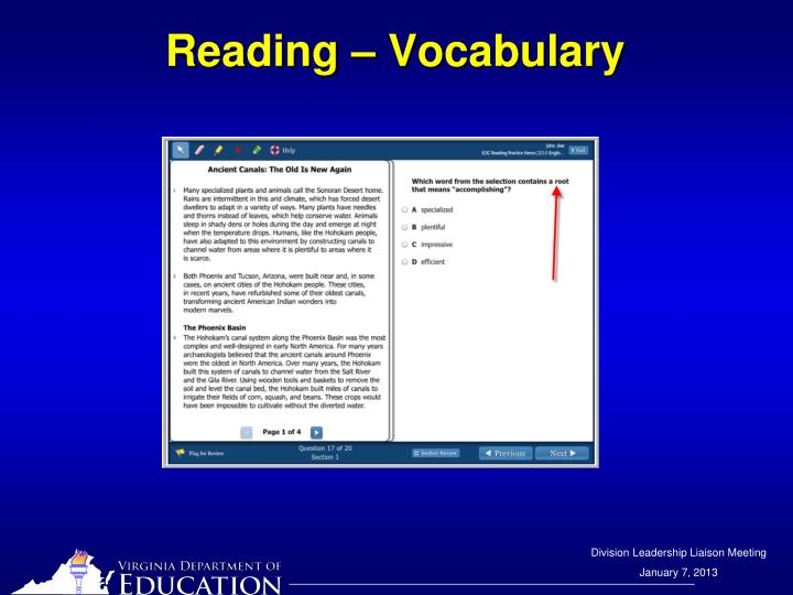 Reading – Vocabulary