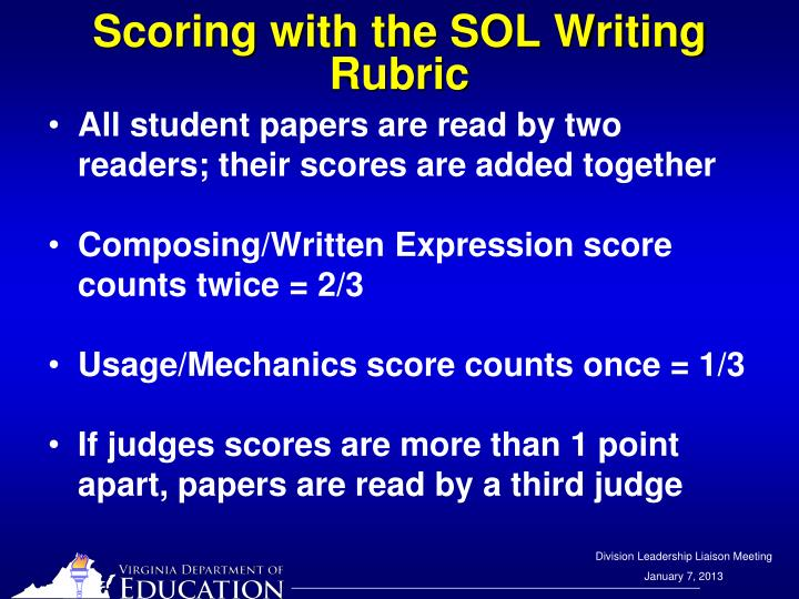 Scoring with the SOL Writing Rubric
