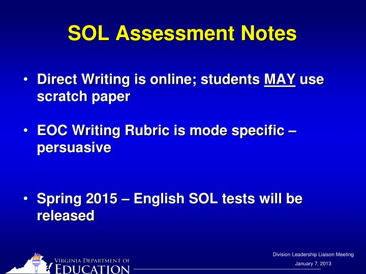 SOL Assessment Notes