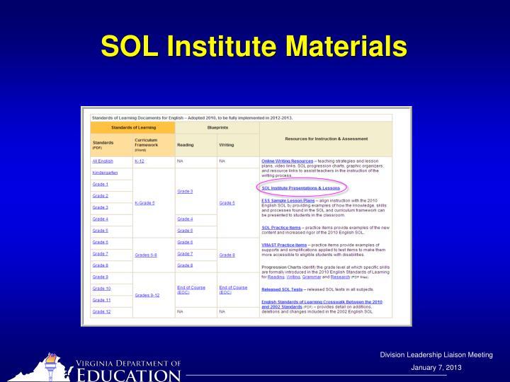 SOL Institute Materials