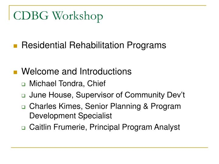 Cdbg workshop