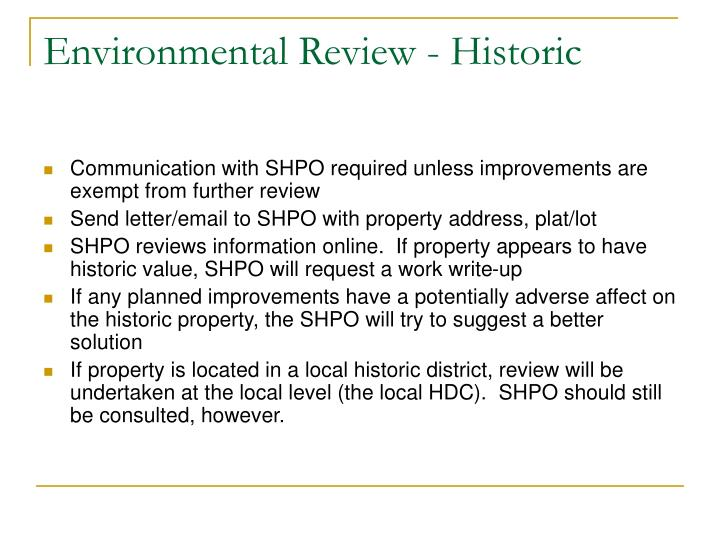 Environmental Review - Historic