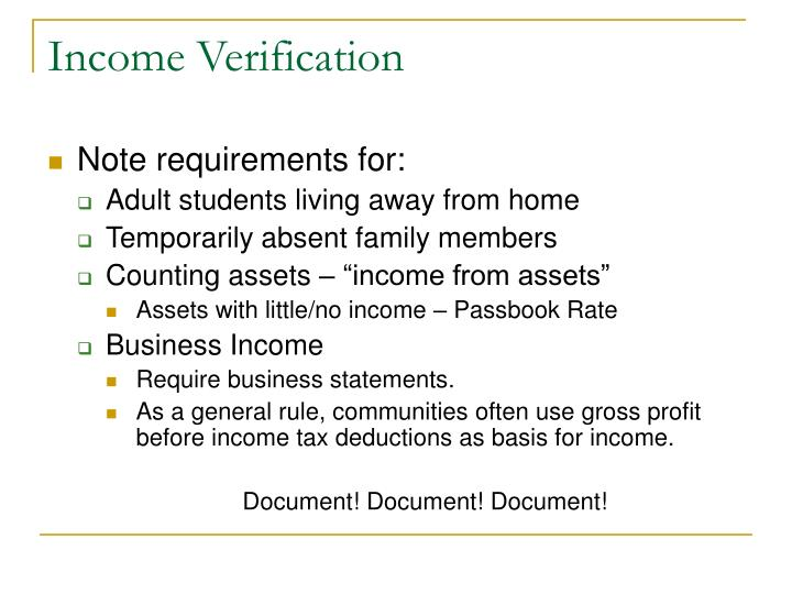 Income Verification