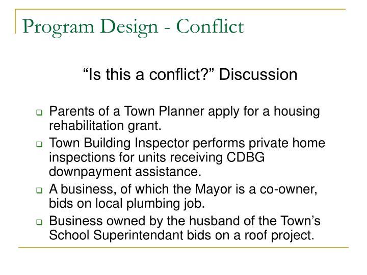 Program Design - Conflict